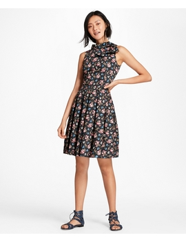 Floral Print Cotton Sateen Pleated Dress by Brooks Brothers
