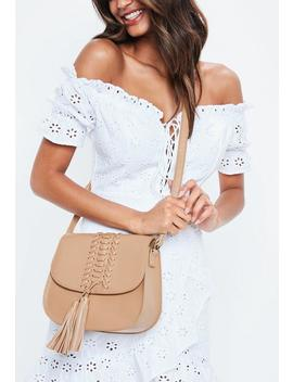 Tan Faux Leather Tassel Saddle Cross Body Bag by Missguided