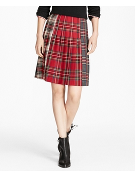 Mixed Tartan Wool Pleated Skirt by Brooks Brothers