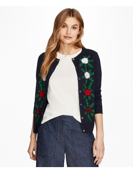 Floral Embroidered Merino Wool Cardigan by Brooks Brothers