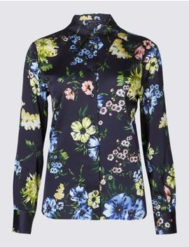 Petite Floral Print Satin Long Sleeve Shirt by Marks & Spencer