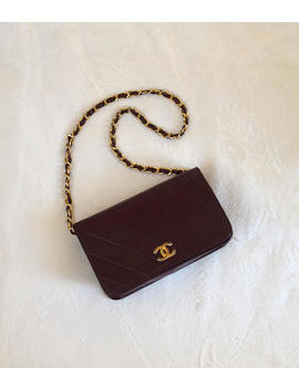 Chanel Authentic Vintage Handbag/ 80s Quilted Leather Purse W Chain/ Bordeaux Clutch Shoulder Bag by Etsy