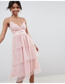 Asos Design Tiered Tulle Midi Dress by Asos Design