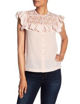 Silk Lace Yoke Blouse by Rebecca Taylor
