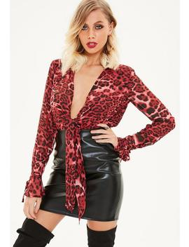 Tall Red Leopard Print Bodysuit by Missguided