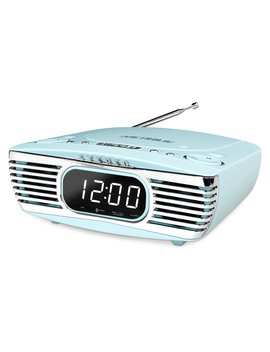 Innovative Technology V50 250 Trq Victrola Bedside Digital Led Alarm Clock Stereo With Cd Player And Fm Radio Turquoise by Innovative Technology