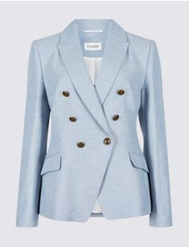Linen Rich Herringbone Blazer by Marks & Spencer