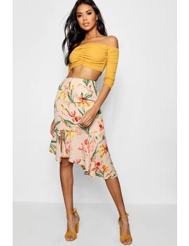Olivia Woven Floral Asymetric Ruffle Midi Skirt by Boohoo