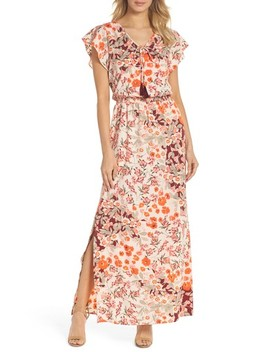 Floral Ruffle Sleeve Maxi Dress by Adrianna Papell