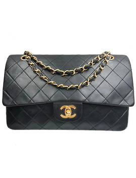"Chanel Black Lambskin Timeless 10"" Double Flap 2.55 Shoulder Bag by Etsy"