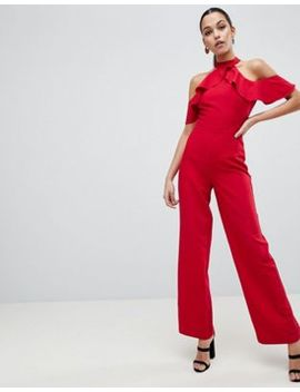 Lipsy Halter Neck Jumpsuit With Ruffle Detail by Lipsy