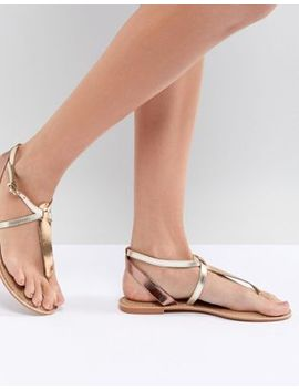 Asos Design Forbes Leather Flat Sandals by Asos Design