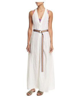 Sleeveless Button Front Swim Coverup Dress by Diane Von Furstenberg