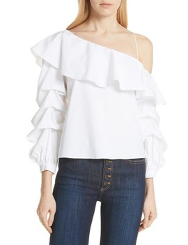 Irvine Ruffle One Shoulder Blouse by Alice + Olivia