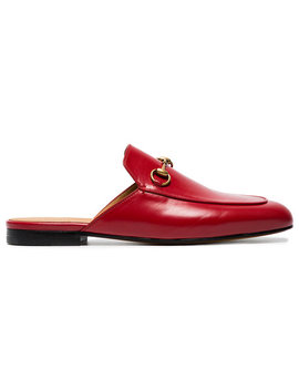 Red Princetown Leather Mules by Gucci