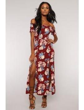 Best Buds Floral Dress   Burgundy by Fashion Nova