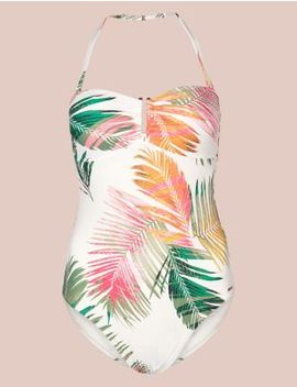 Secret Slimming™ Palm Print Bandeau Swimsuit by Marks & Spencer