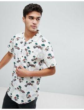 Brave Soul Revere Collar Miami Print Short Sleeved Shirt by Shirt