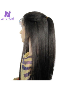 Luffy Pre Plucked 5*4.5 Inch Glueless Silk Base Full Lace Wigs Human Hair Light Yaki Straight Brazilian Non Remy 130 Density by Luffy