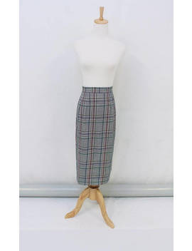Vintage   80's   Retro   Secretary   Preppy   Black   White   Grey   Check   High Waist   Skirt   10 12   S M   Small Medium by Etsy