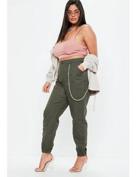 Curve Khaki Chain Detail Cargo Trousers by Missguided