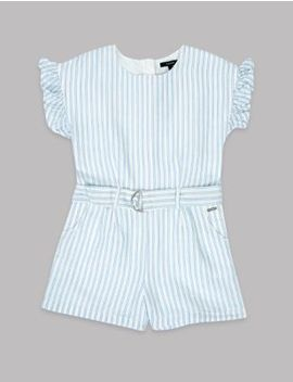 Frill Sleeve Striped Playsuit (3 16 Years) by Marks & Spencer