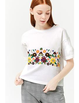 Embroidered Floral Top by F21 Contemporary