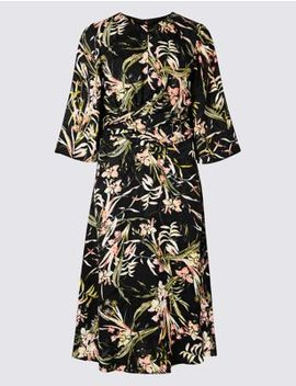 Floral Jacquard 3/4 Sleeve Skater Midi Dress by Marks & Spencer