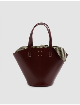 Large Leather Basket Bag With Gingham Insert by Need Supply Co.