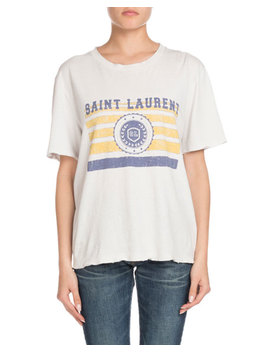 University Medallion On Stripes Crewneck Short Sleeve Cotton T Shirt by Saint Laurent