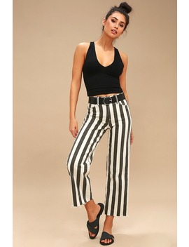 Nellie Washed Black Striped Culotte Jeans by Paige