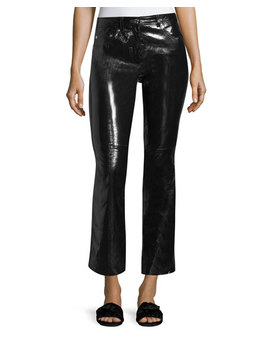 Patent Leather Flared Leg Crop Pants by Helmut Lang