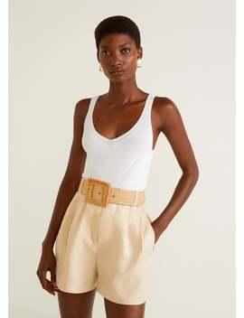 Shorts Cintura Alta Linho by Mango