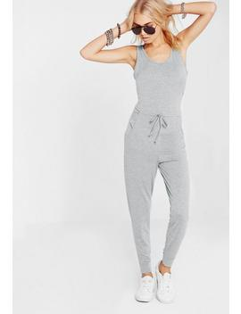 Grey Sleeveless Tie Waist Jumpsuit by Missguided