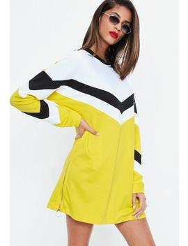 Yellow Chevron Long Sleeve Sweater Dress by Missguided