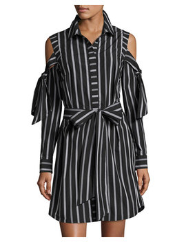 Riley Cold Shoulder Striped Cotton Shirtdress, Black by Milly