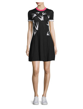 Short Sleeve Jacquard Skater Dress, Black/White by Mc Q Alexander Mc Queen
