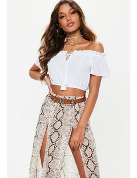 White Bardot Tassel Crop Top by Missguided