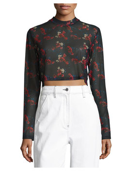Charlie Floral Print Semisheer Crop Top by Public School