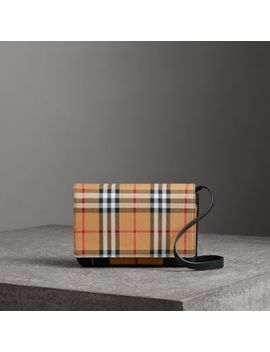 Vintage Check And Leather Wallet With Detachable Strap by Burberry
