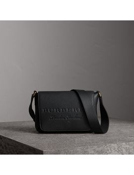 Small Embossed Leather Messenger Bag by Burberry