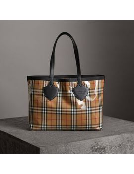 The Medium Giant Tote In Plastic And Vintage Check by Burberry