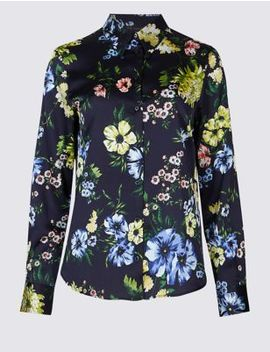 Floral Print Satin Long Sleeve Shirt by Marks & Spencer