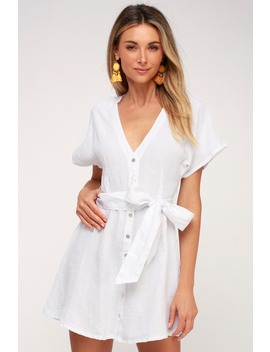 Deena White Button Up Dress by On The Road