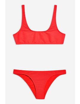 Ribbed Crop Bikini Set by Topshop
