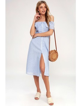 Jeanne Blue And White Striped Off The Shoulder Midi Dress by Bb Dakota