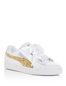 Women's Basket Heart Leather & Glitter Lace Up Sneakers by Puma