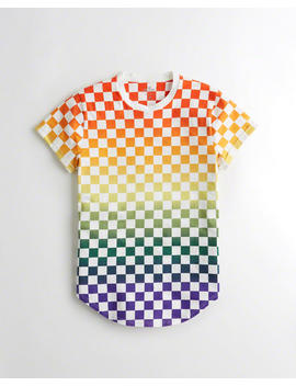 Rainbow Checkerboard Graphic Tee by Hollister