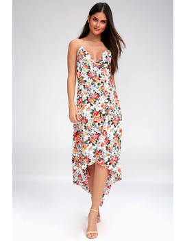 Alter Your Mood White Floral Print High Low Wrap Dress by Lucy Love