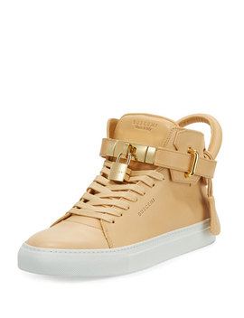 Men's 100mm Leather Mid Top Sneaker, Natural by Neiman Marcus